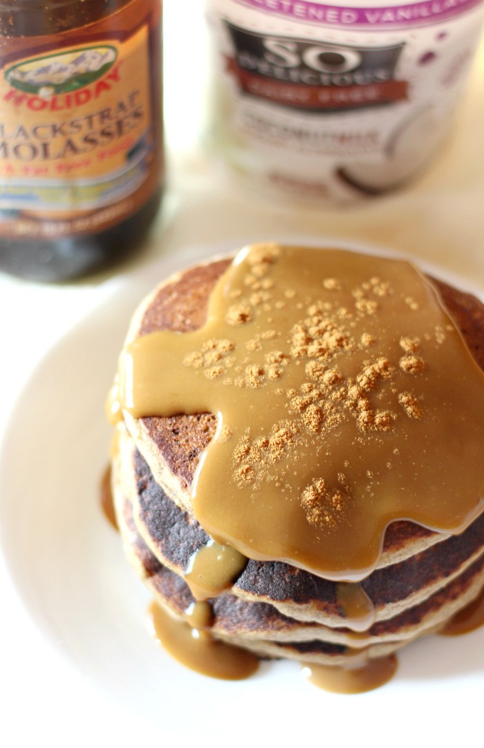 Gluten-Free Gingerbread Pancakes with Vegan Molasses Yogurt (Allergy-Free) | Strength and Sunshine @RebeccaGF666 Ready for a delicious holiday breakfast recipe that will bring all the Christmas cheer? Here's a stack of soft & fluffy Gluten-Free Gingerbread Pancakes with Vegan Molasses Yogurt! A top-8 allergy-free recipe that even gets Santa's seal of approval! #gingerbread #pancakes #glutenfree #vegan #dairyfree #holidays #christmas
