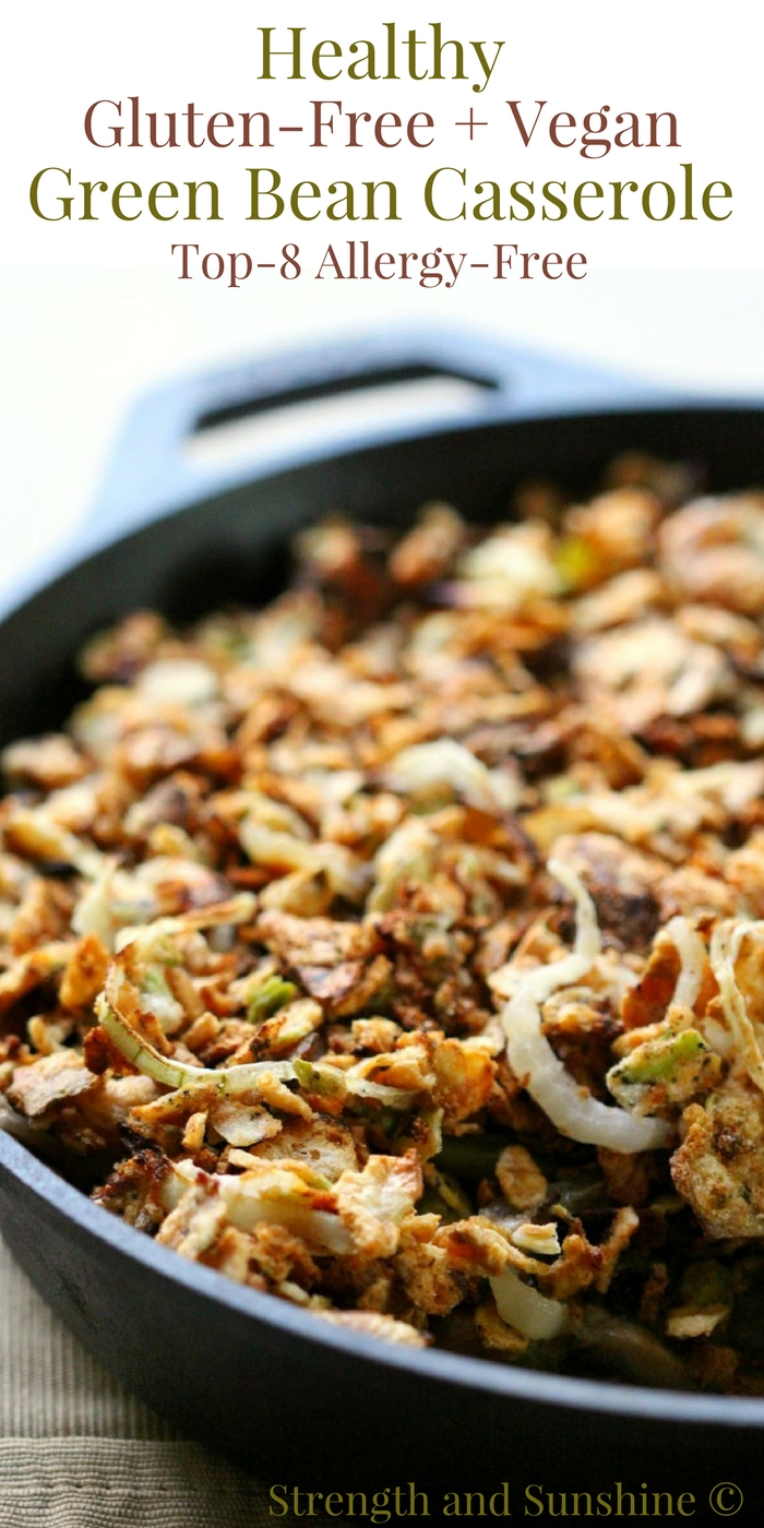 Healthy Gluten-Free + Vegan Green Bean Casserole (Allergy-Free) | Strength and Sunshine @RebeccaGF666 It's time to give that classic holiday side dish recipe a healthy makeover! This homemade Gluten-Free & Vegan Green Bean Casserole is top-8 allergy-free, has a crunchy baked onion topping, and creamy coconut milk and mushroom base! #glutenfree #vegan #greenbeancasserole #holidays #holidayrecipe #greenbeans #sidedish #allergyfree