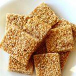 3-Ingredient Sesame Seed Crunch Candy (Gluten-Free) | Strength and Sunshine @RebeccaGF666 A popular candy recipe with many variations throughout Middle Eastern, Mediterranean, Indian, and Asian cuisines. This 3-Ingredient Sesame Seed Crunch Candy is perfectly sweet, nutty, gluten-free, paleo, optionally vegan, and top-8 allergy-free! Just toasted sesame seeds, honey, and sugar! Easy to gift or munch! #sesameseeds #sesamecandy #candy
