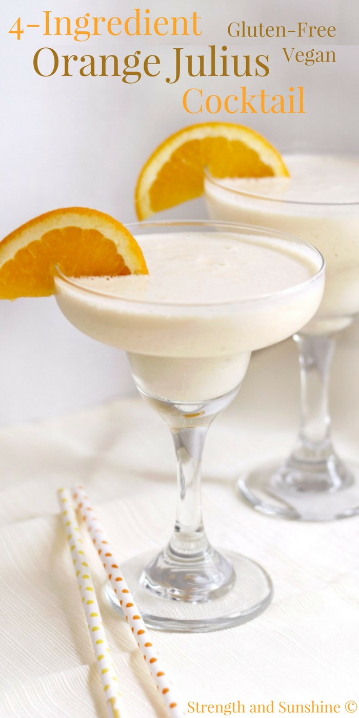 4-Ingredient Orange Julius Cocktail (Gluten-Free, Vegan) | Strength and Sunshine @RebeccaGF666 Give your Orange Julius a grown-up boozy twist! A quick and easy 4-Ingredient Orange Julius Cocktail recipe that's gluten-free, vegan, and makes for a perfect frozen, creamy, and fruit treat! A sippable Creamsicle for adults only! #orangejulius #creamsicle #cocktail #glutenfree #vegan