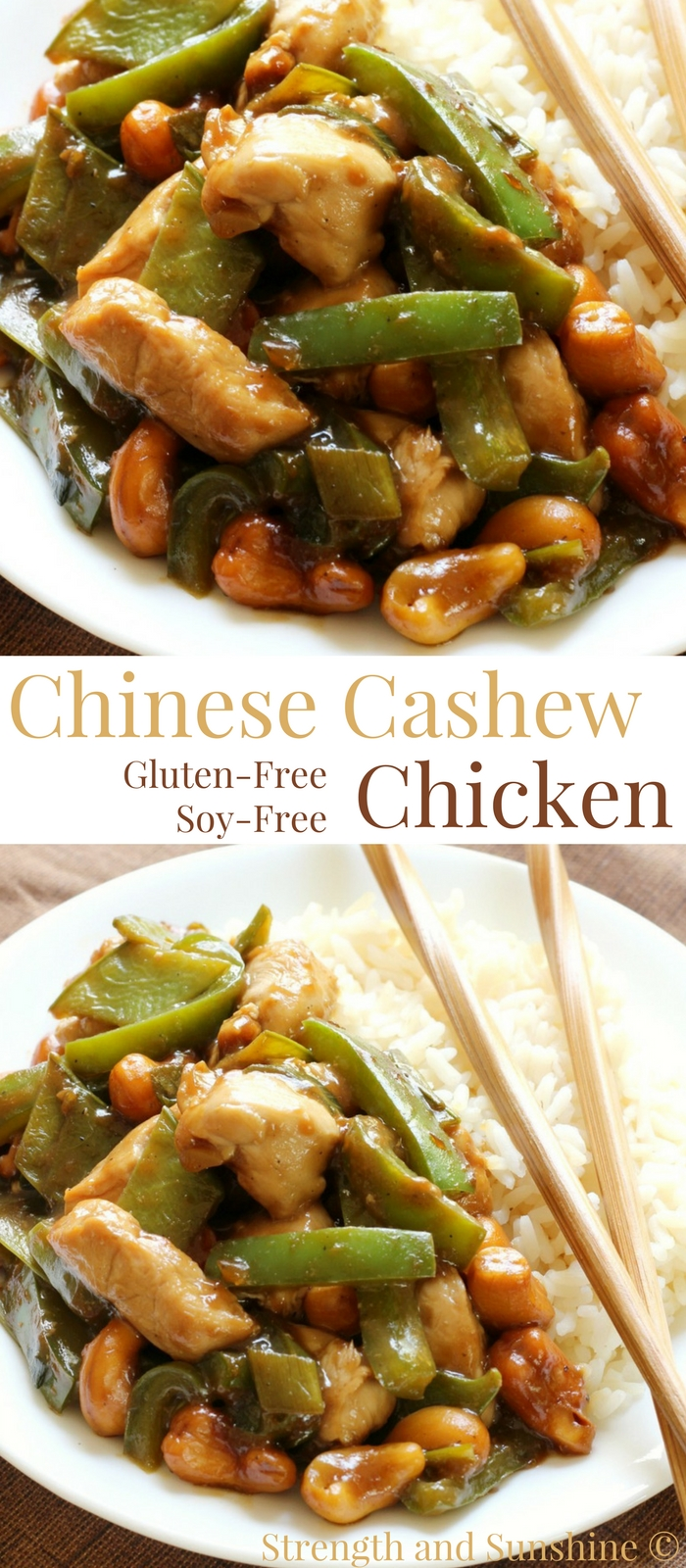 Chinese Cashew Chicken (Gluten-Free, Soy-Free) | Strength and Sunshine @RebeccaGF666 You won't need to spend money on take-out anymore! The best Chinese Cashew Chicken made right at home, gluten-free, and soy-free! A healthier recipe you can make for dinner and have the best leftovers for lunch! #cashewchicken #glutenfree #soyfree #takeout