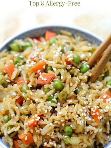 Classic Vegetable Fried Rice (Gluten-Free, Vegan, Allergy-Free) | Strength and Sunshine @RebeccaGF666 A super quick and easy Classic Vegetable Fried Rice recipe so you don't need to order takeout! It's gluten-free, vegan, top 8 allergy-free, healthy, and full of veggies! A perfect side dish for using leftover rice and transforming it into a delicious lunch or dinner! #friedrice #glutenfree #soyfree #vegan #nutfree #takeout #strengthandsunshine