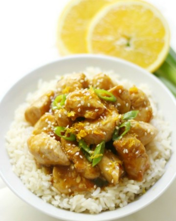 Gluten-Free Orange Chicken (Soy-Free, Top-8 Allergy-Free) | Strength and Sunshine @RebeccaGF666 Easy Chinese take-out made right at home! This Gluten-Free Orange Chicken recipe is not only soy-free, but top-8 allergy-free, quick to make, & a whole lot healthier! With a sticky, sweet, & spicy homemade orange sauce, this remake on the classic take-out will be a new favorite dinner option (with killer leftovers!) #orangechicken #chicken #takeout #glutenfree #soyfree #nutfree #chinesefood