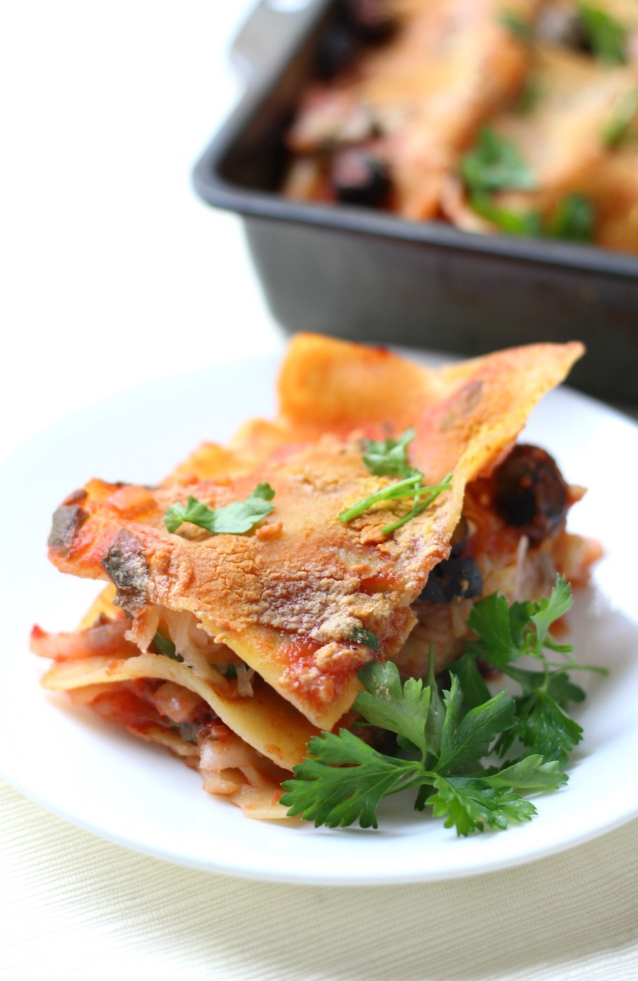 Small Batch Gluten-Free Vegetable Lasagna (Vegan, Allergy-Free) | Strength and Sunshine @RebeccaGF666 A quick and easy, healthy and lightened up version of a classic Italian dinner! This Small Batch Gluten-Free Vegetable Lasagna is vegan, top 8 allergy-free, packed with veggies, homemade tomato sauce, and on the table in 30 minutes! A recipe the whole family will love for those busy weeknight meal dilemmas! #glutenfree #vegan #lasagna #dinner #pasta #strengthandsunshine