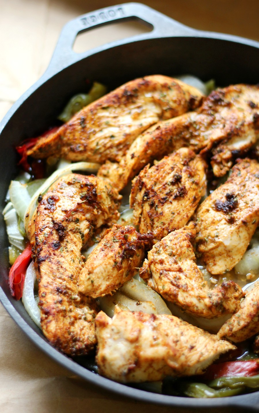 Easy Gluten-Free Skillet Chicken Fajitas (Allergy-Free, Paleo) | Strength and Sunshine @RebeccaGF666 Delicious and easy Gluten-Free Skillet Chicken Fajitas, healthy and baked in the oven. Just sliced spiced rubbed chicken, bell peppers, and onions! An allergy-free and paleo Tex-Mex recipe you can make for dinner or prep ahead of time for quick lunches and meals throughout the week!