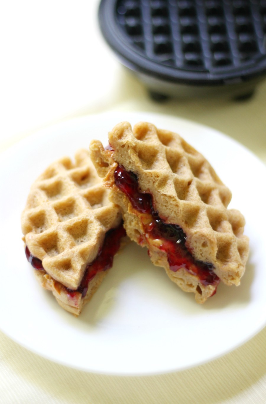 Mini Gluten Free Peanut Butter And Jelly Waffle Sandwiches