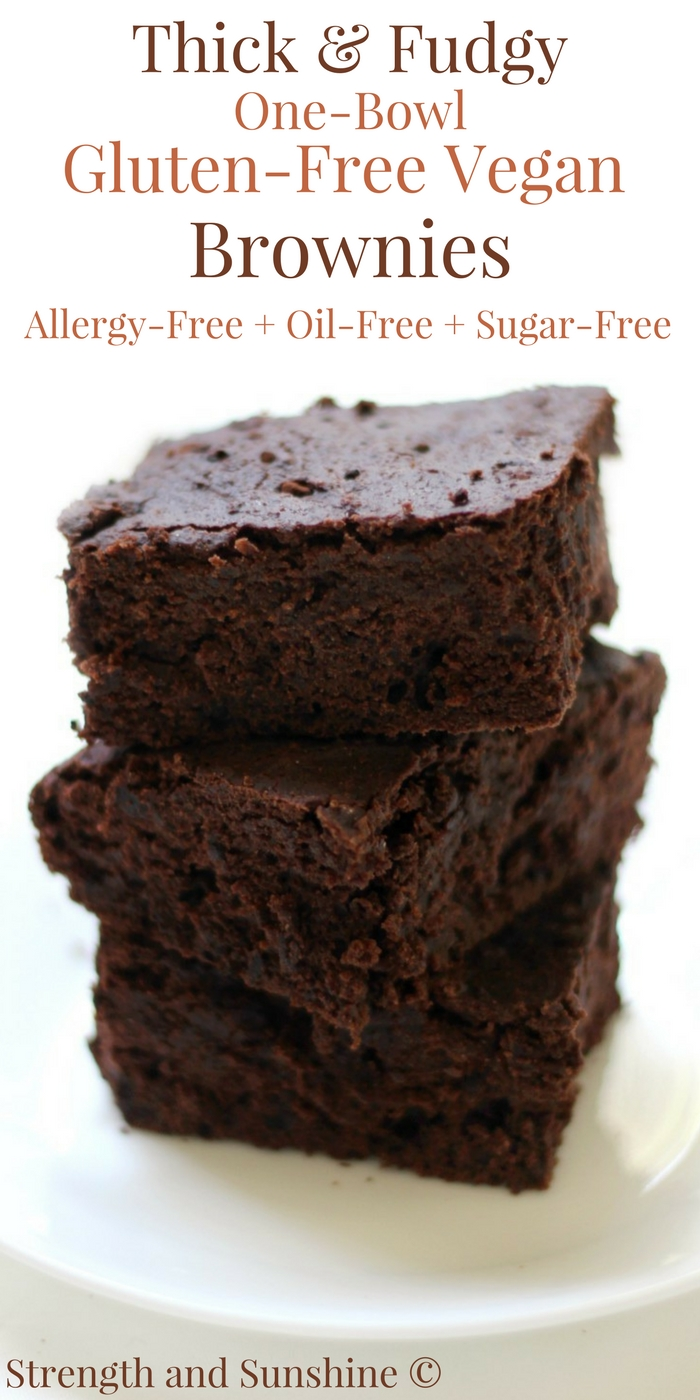 Easy Thick & Fudgy One-Bowl Gluten-Free Vegan Brownies (Allergy-Free) A quick & easy recipe for classic Thick & Fudgy One-Bowl Gluten-Free Vegan Brownies! A top 8 allergy-free, oil-free, and sugar-free swap for your favorite rich and decadent chocolate dessert! Kid and mom approved for any party or celebration! #brownies #glutenfree #vegan #allergyfree #dessert #strengthandsunshine