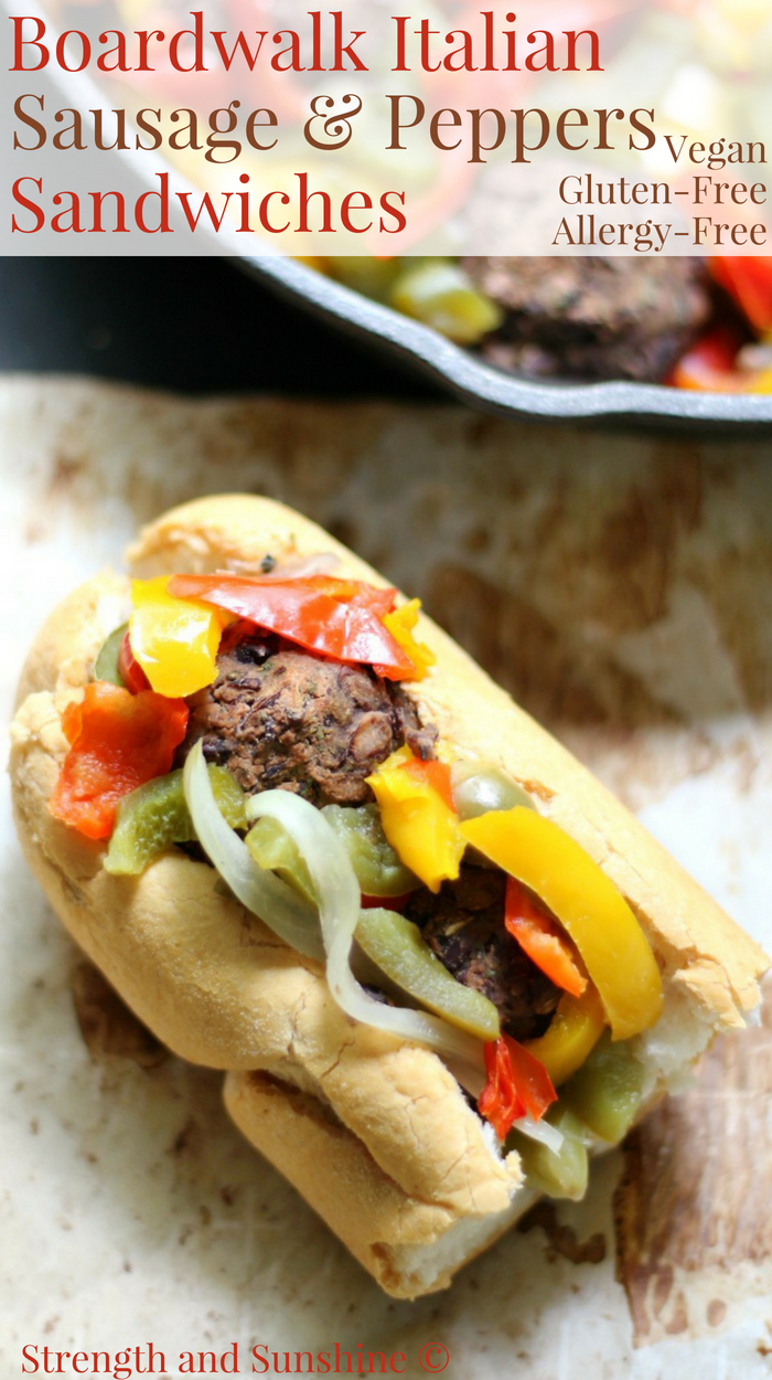 Vegan Boardwalk Italian Sausage & Peppers Sandwiches (Gluten-Free, Allergy-Free) | Strength and Sunshine @RebeccaGF666 A Jersey Shore classic! These meatless Boardwalk Italian Sausage & Peppers Sandwiches are vegan, gluten-free, and top 8 allergy-free! A simple, delicious, and healthy recipe for your greasy favorite summer comfort food! #sausageandpeppers #sandwich #glutenfree #vegan #strengthandsunshine