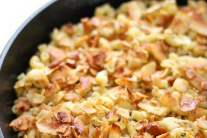 Gluten-Free Baked Vegan Bacon Ranch Pasta Skillet (Allergy-Free)   Strength and Sunshine @RebeccaGF666 A fun, healthy, & delicious meal for the whole family! This Gluten-Free Baked Vegan Bacon Ranch Pasta Skillet recipe is top 8 allergy-free, ready in 20 minutes start to finish, with a homemade, creamy, classic ranch dressing and crunchy coconut bacon topping! #ranch #bakedpasta #coconutbacon #glutenfree #vegan #allergyfree #dinner #pasta #strengthandsunshine