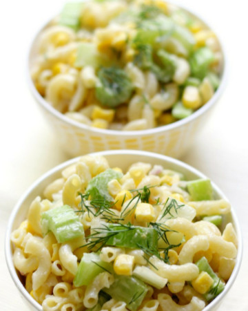 Simple Summer Corn Macaroni Salad (Gluten-Free, Vegan, Allergy-Free) | Strength and Sunshine @RebeccaGF666 An easy last minute side dish recipe for all your cookouts, bbqs, and potlucks! This Simple Summer Corn Macaroni Salad is gluten-free, vegan, top 8 allergy-free, and can be made in just 10 minutes! Seven ingredients are all you need for this family-friendly pasta salad! #macaronisalad #pastasalad #glutenfree #vegan #summerfood #sidedish #strengthandsunshine