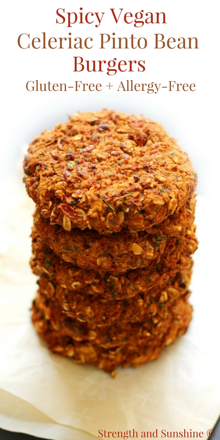Spicy Vegan Celeriac Pinto Bean Burgers (Gluten-Free, Allergy-Free) | Strength and Sunshine @RebeccaGF666 A hearty meatless burger that will please even the biggest meat-eater! Spicy Vegan Celeriac Pinto Bean Burgers that are gluten-free, top 8 allergy-free, freezable, and won't fall apart! Loaded with smokey chipotle flavor, this healthy veggie burger recipe well be a star at the dinner table! #beanburger #veggieburger #pintobeans #glutenfree #vegan #strengthandsunshine