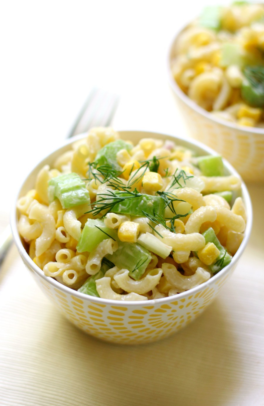 Simple Summer Corn Macaroni Salad (Gluten-Free, Vegan, Allergy-Free) | Strength and Sunshine @RebeccaGF666 An easy last minute side dish recipe for all your cookouts, bbqs, and potlucks! This Simple Summer Corn Macaroni Salad is gluten-free, vegan, top 8 allergy-free, and can be made in just 10 minutes! Seven ingredients are all you need for this family-friendly pasta salad!