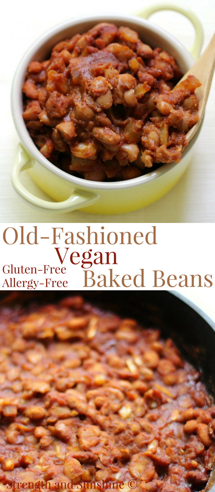 Old-Fashioned Vegan Baked Beans (Gluten-Free, Allergy-Free) | Strength and Sunshine @RebeccaGF666 Just like grandma used to make! This is the best Old-Fashioned Vegan Baked Beans recipe! They're sweet, smoky, gluten-free, top 8 allergy-free, and baked right in your cast iron skillet! #bakedbeans #vegan #glutenfree #sidedish