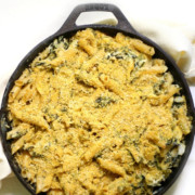 baked-creamy-spinach-artichoke-pasta-skillet-pin