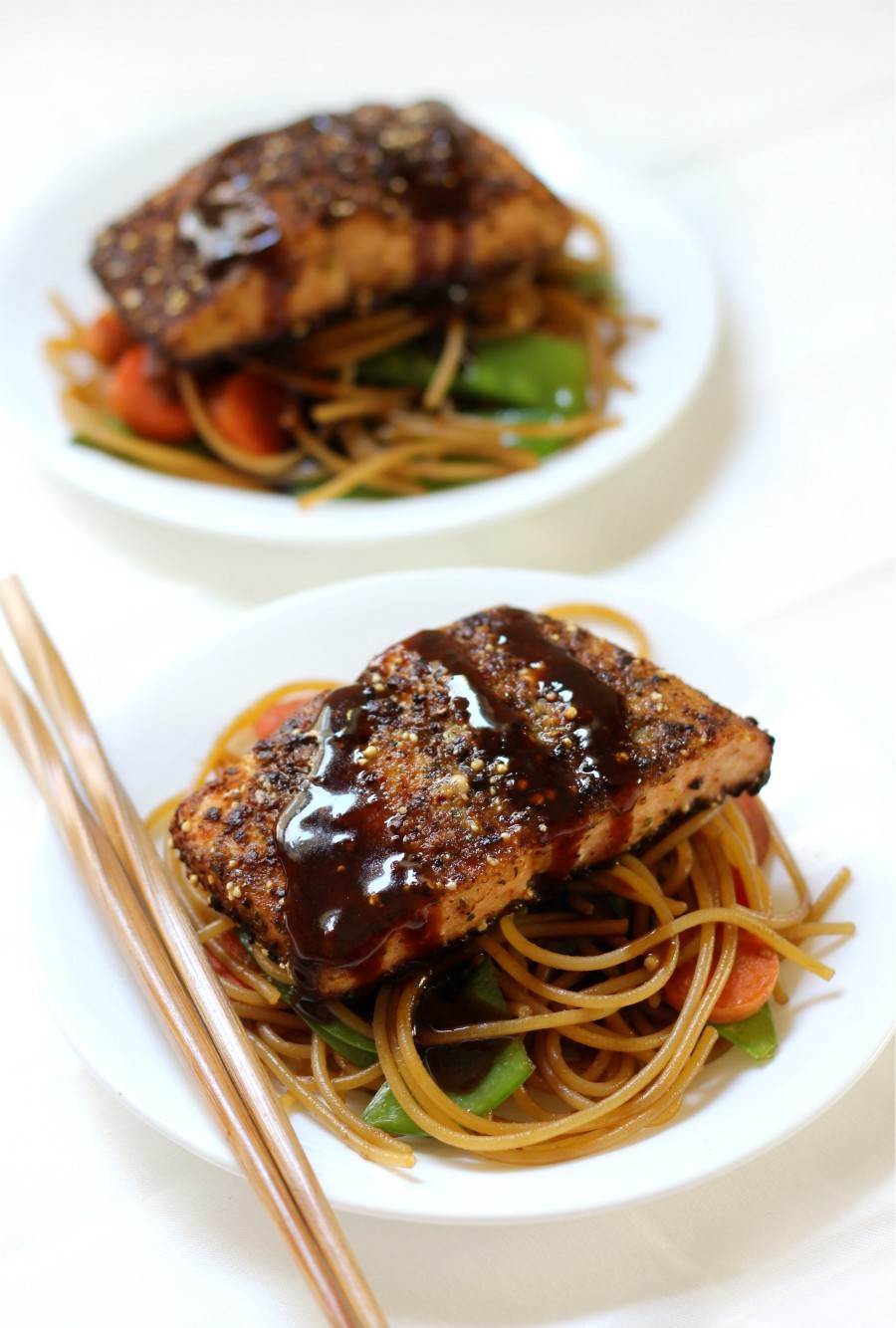 two-plates-ginger-salmon-sticky-garlic-noodles