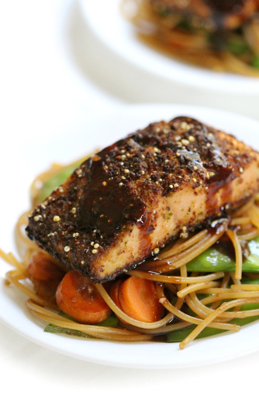 close-up-asian-salmon-sticky-noodles