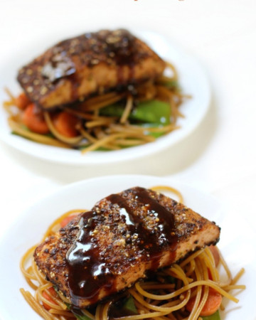 ginger-salmon-sticky-garlic-noodles-two-plates-pin