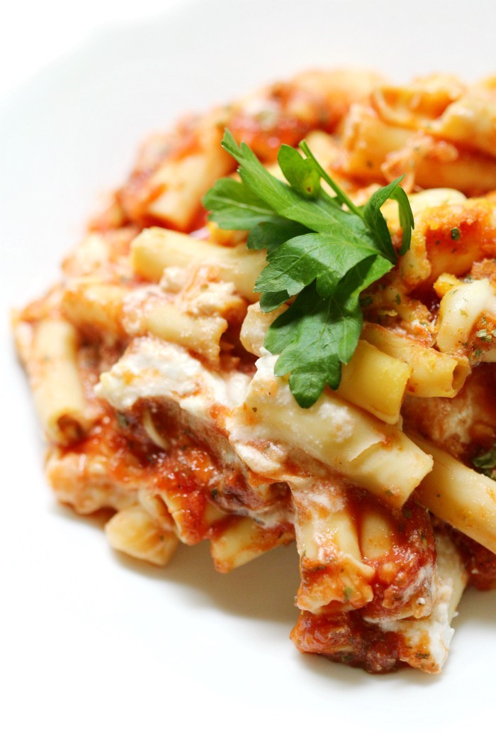 vegan-baked-ziti-white-dish-white-background