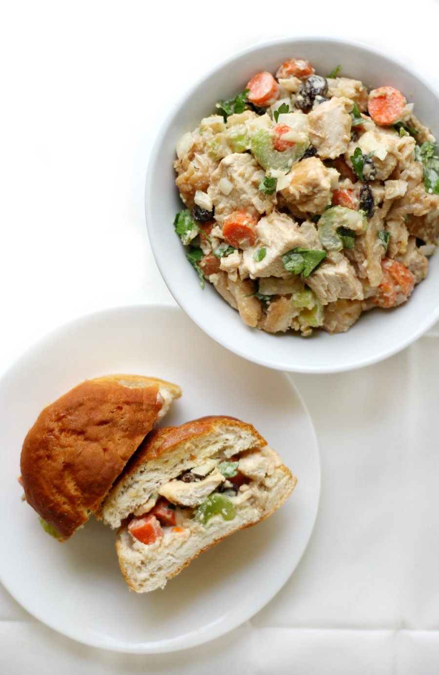 overhead-chicken-salad-sandwich-with-bowl-of-salad