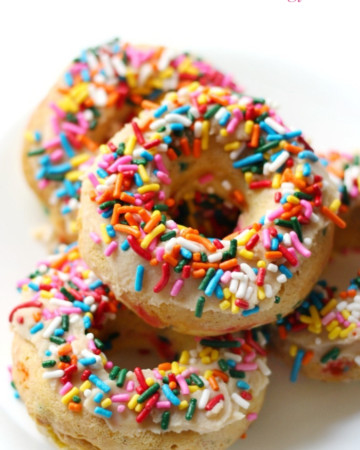baked-gluten-free-vegan-funfetti-doughnuts-white-plate-pin