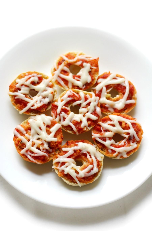 pizza-bagel-bites-white-plate-overhead