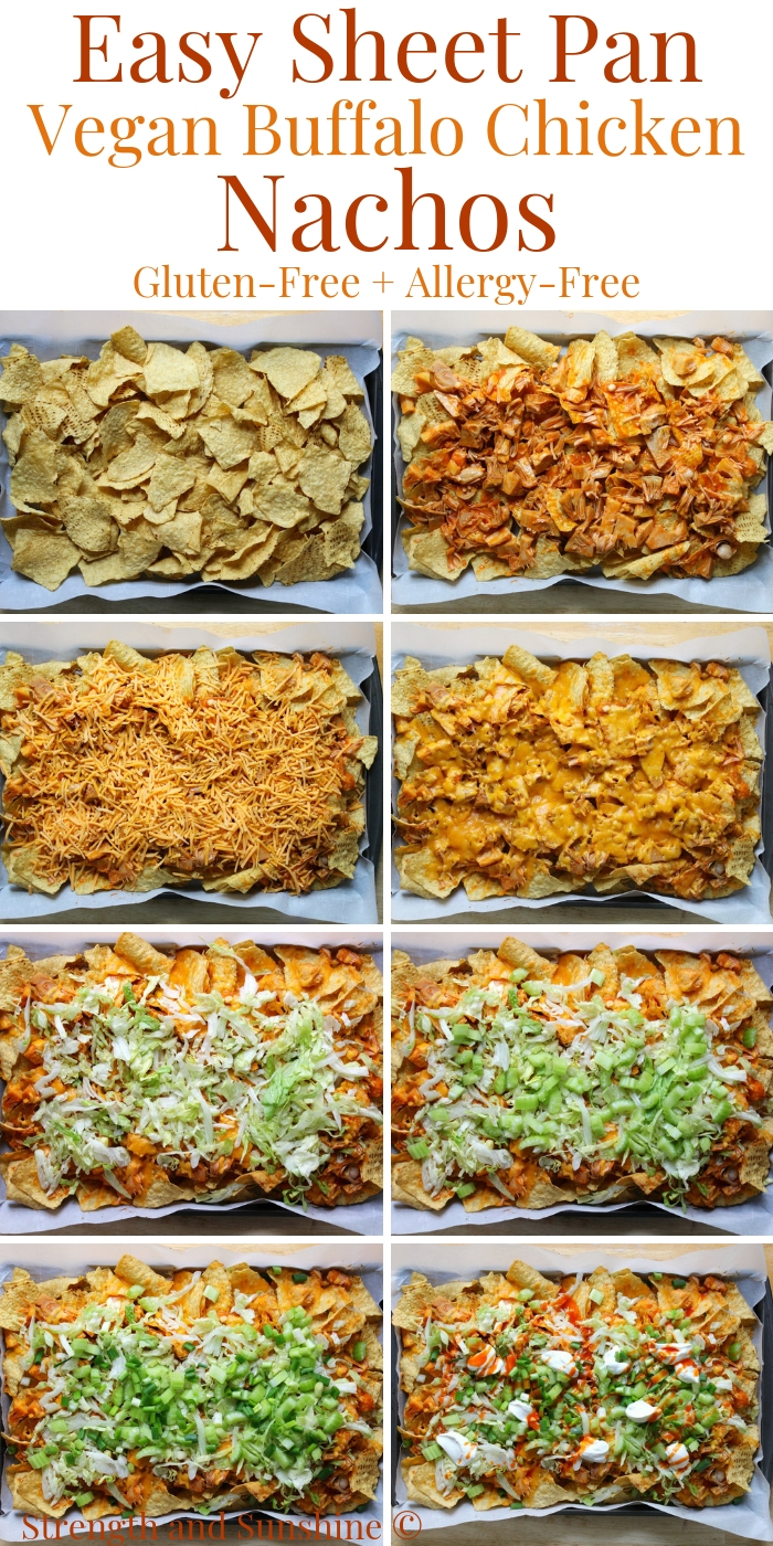 how-to-make-layer-sheet-pan-vegan-buffalo-chicken-nachos-steps