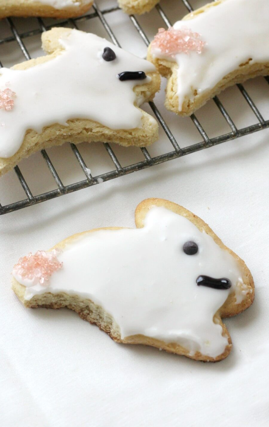 easter bunny cookies with bitten off leg