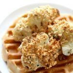 plain-gluten-free-vegan-chicken-and-waffles-side-view-pin
