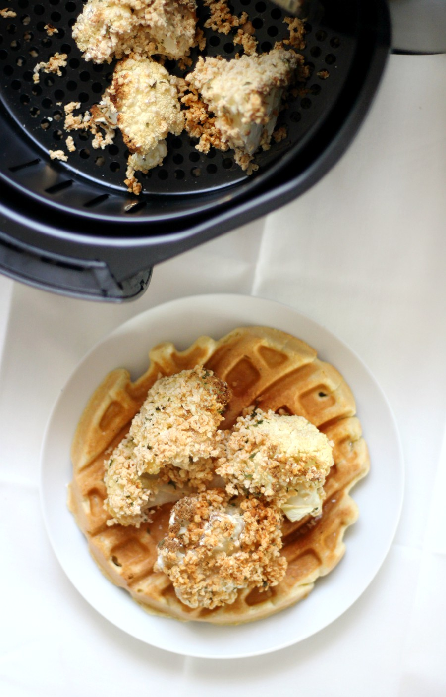 overhead-view-air-fryer-cauliflower-chicken-gluten-free-vegan-chicken-and-waffles