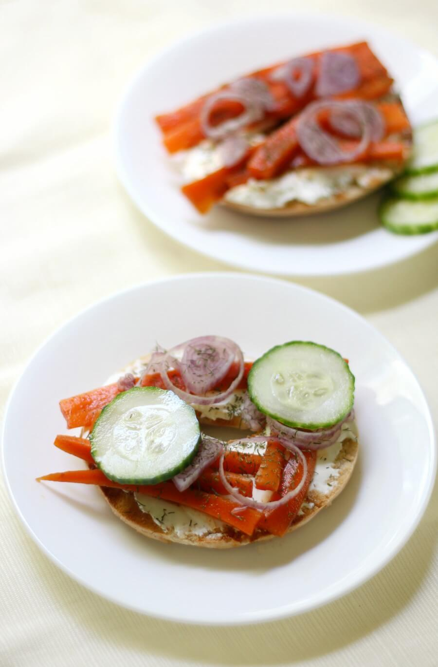 open faced bagel and lox with toppings