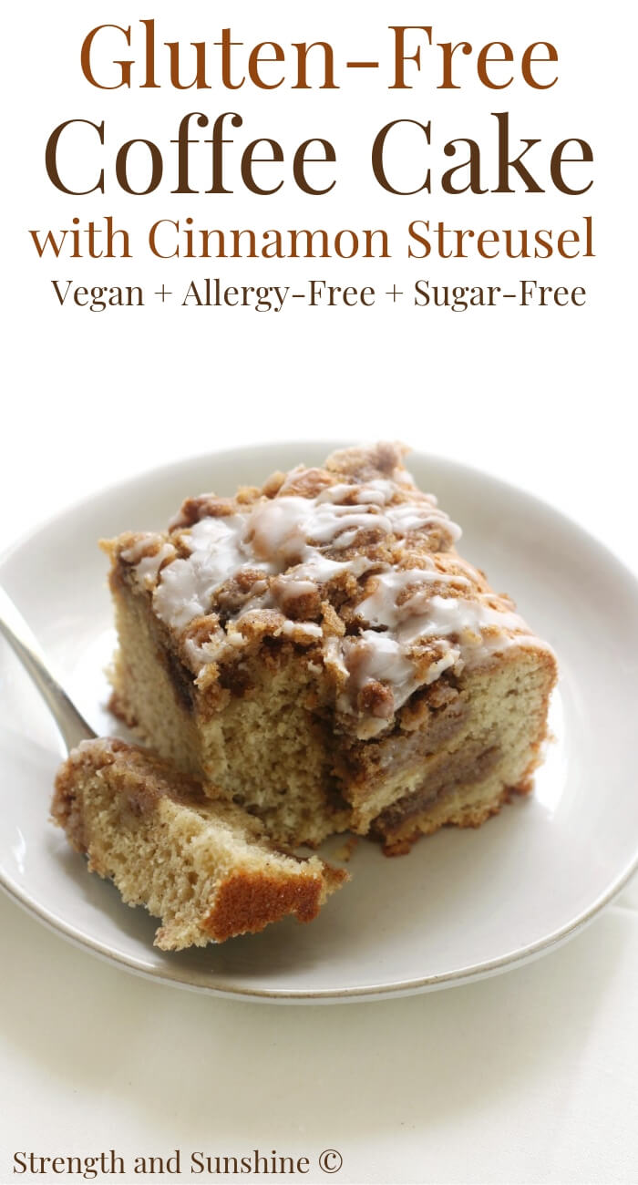 slice of gluten-free coffee cake with cinnamon streusel fork bite
