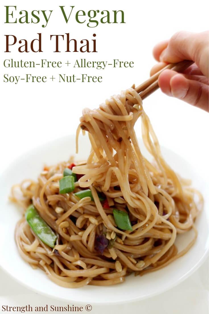 chopsticks twirling gluten-free vegan pad thai noodles