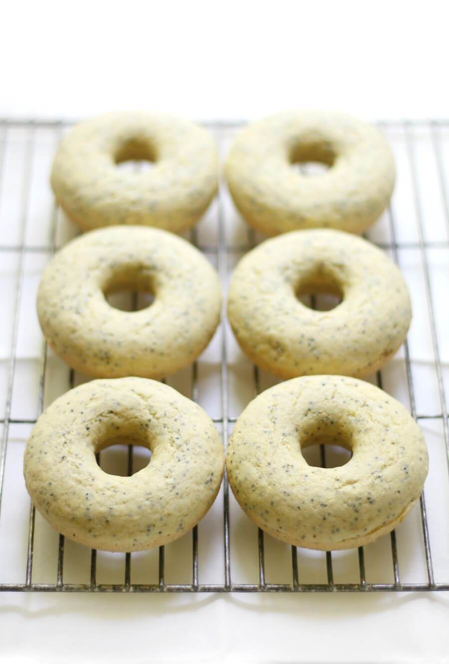 unglazed lemon poppy seed doughnuts on wire rack