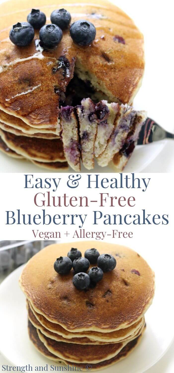 collage image of gluten-free blueberry pancakes