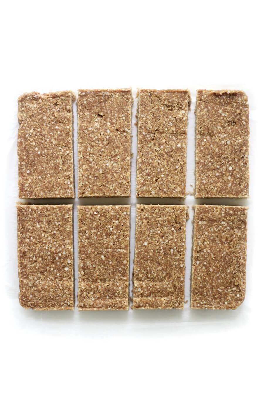 overhead view of 8 cut oat-free no-bake granola bars