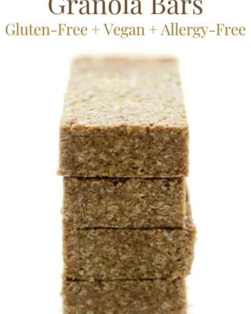 4 no-bake granola bars stacked up