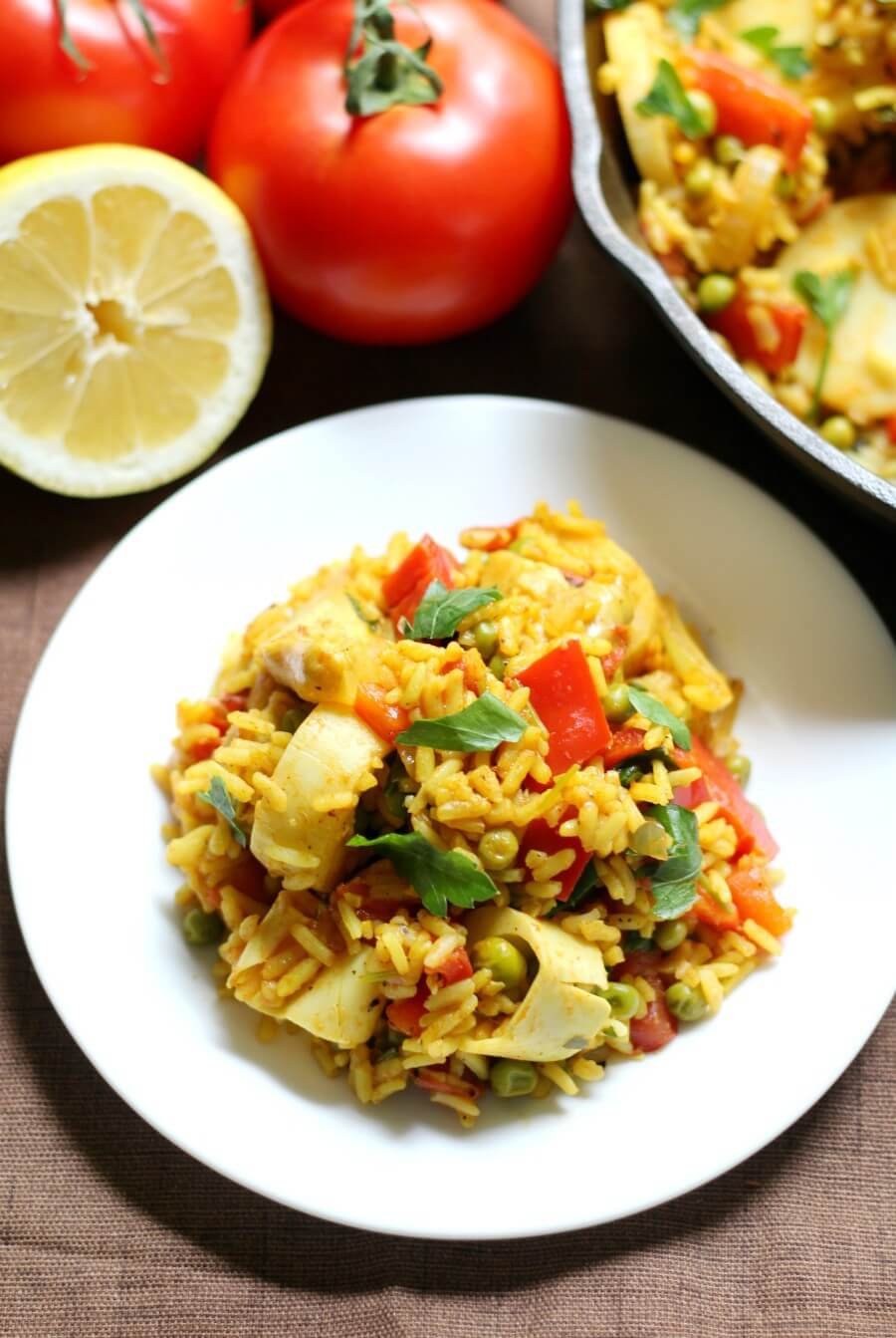 a plate of vegan paella overhead view