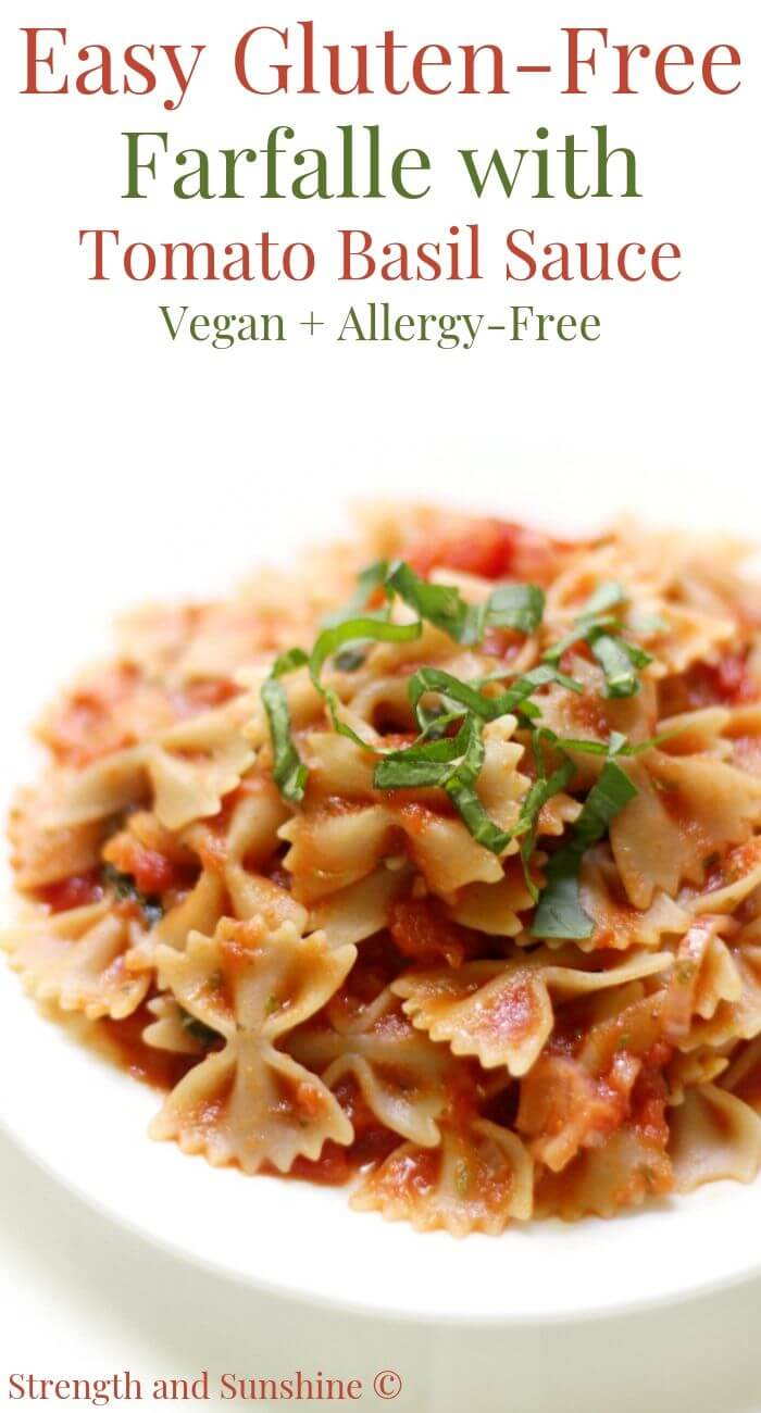 gluten-free farfalle with tomato basil sauce on plate with image text