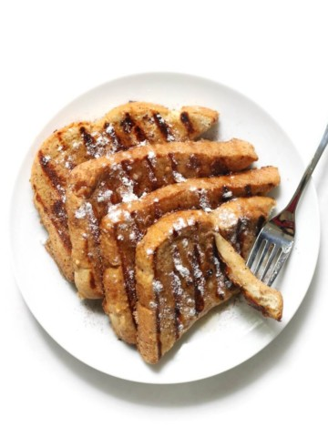 gluten-free grilled french toast with syrup and fork