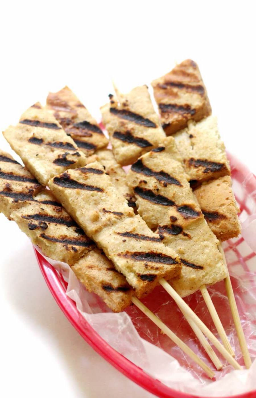 plain gluten-free grilled french toast skewers