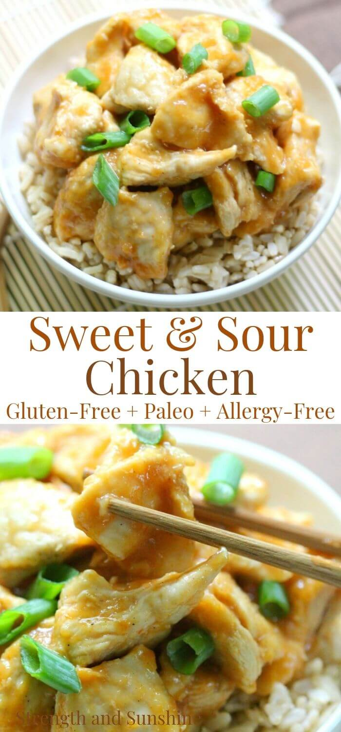 collage image of sweet & sour chicken