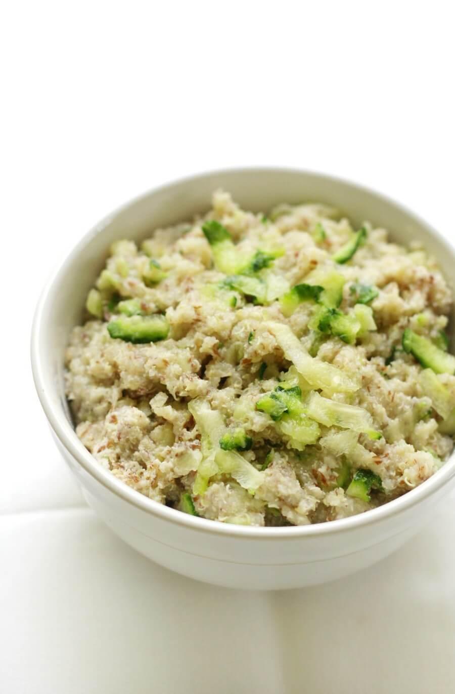 plain bowl of zucchini bread quinoa flakes