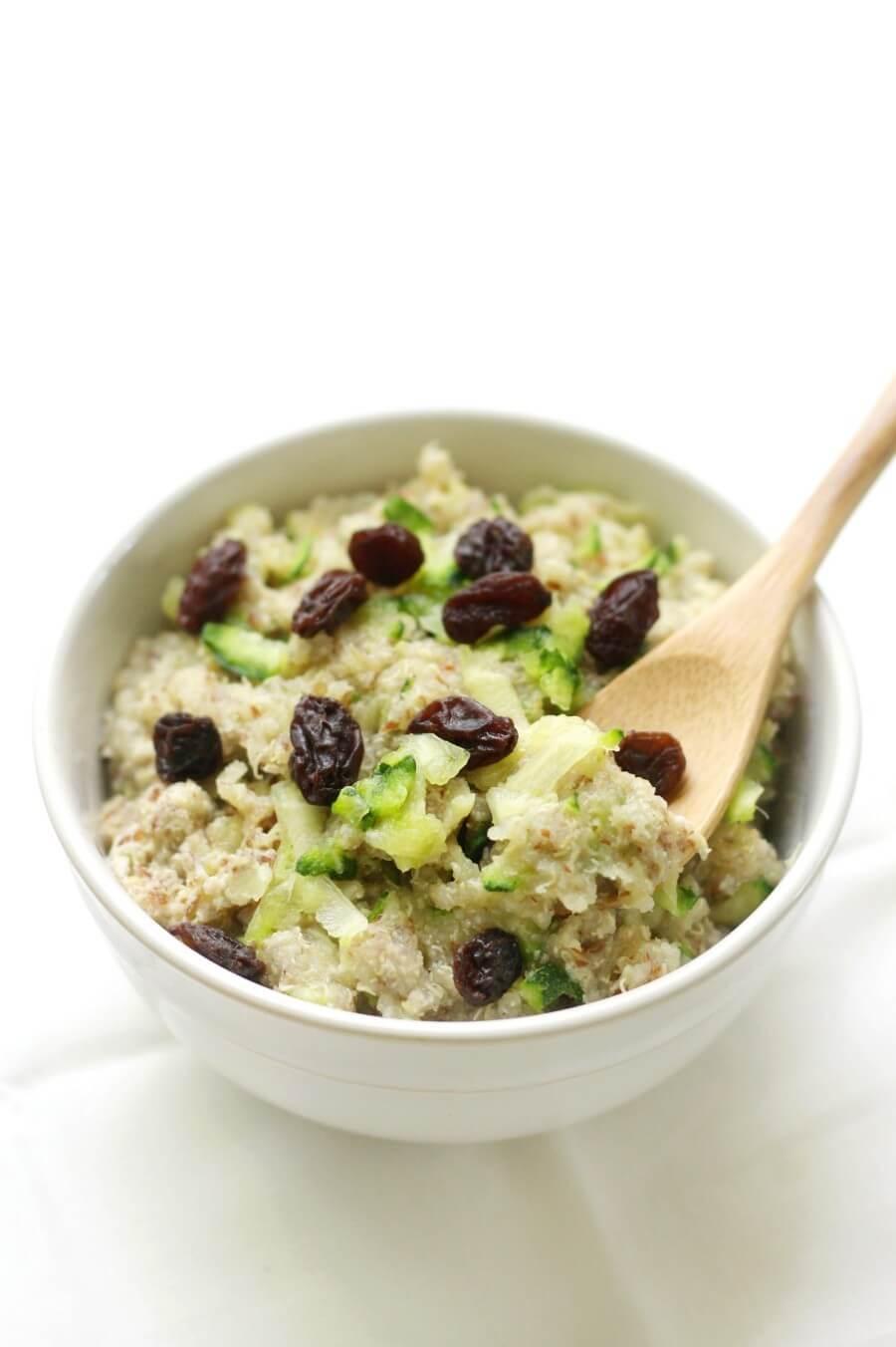 bowl of zucchini bread quinoa flakes with raisins