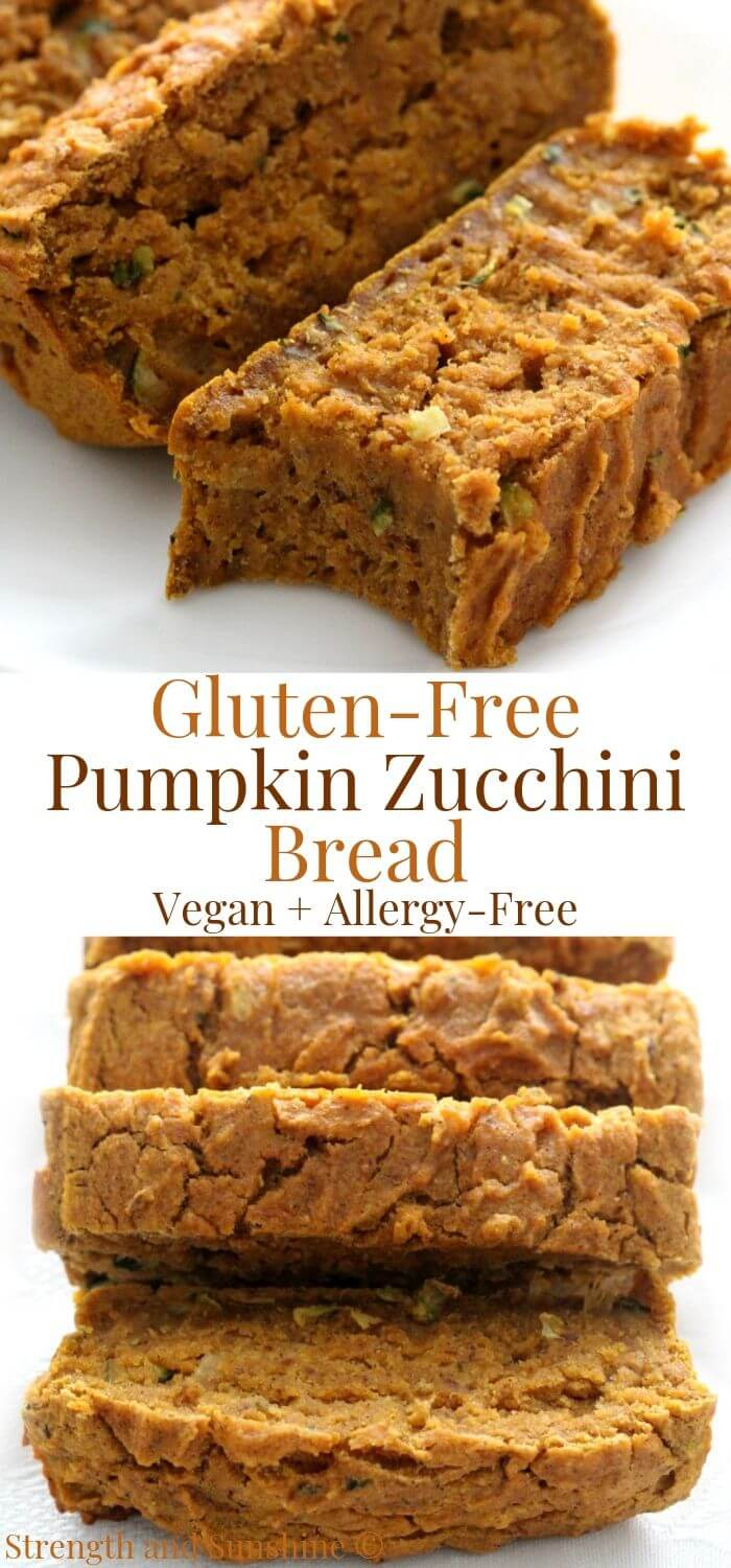 collage image of gluten-free pumpkin zucchini bread