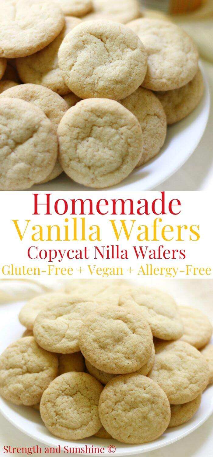 collage image of homemade vanilla wafers with image text