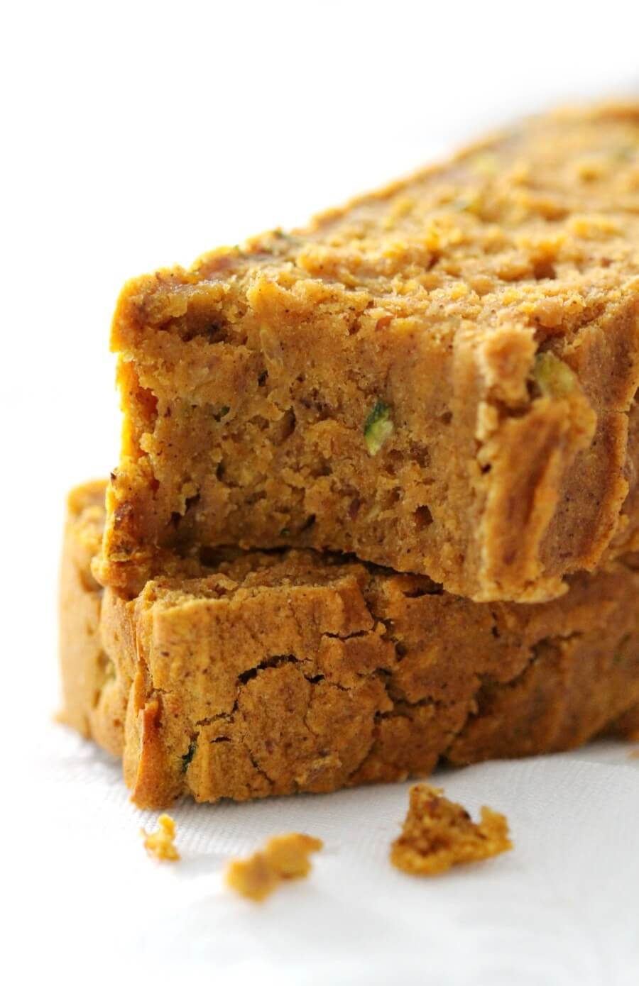 close-up of half eaten gluten-free pumpkin zucchini bread