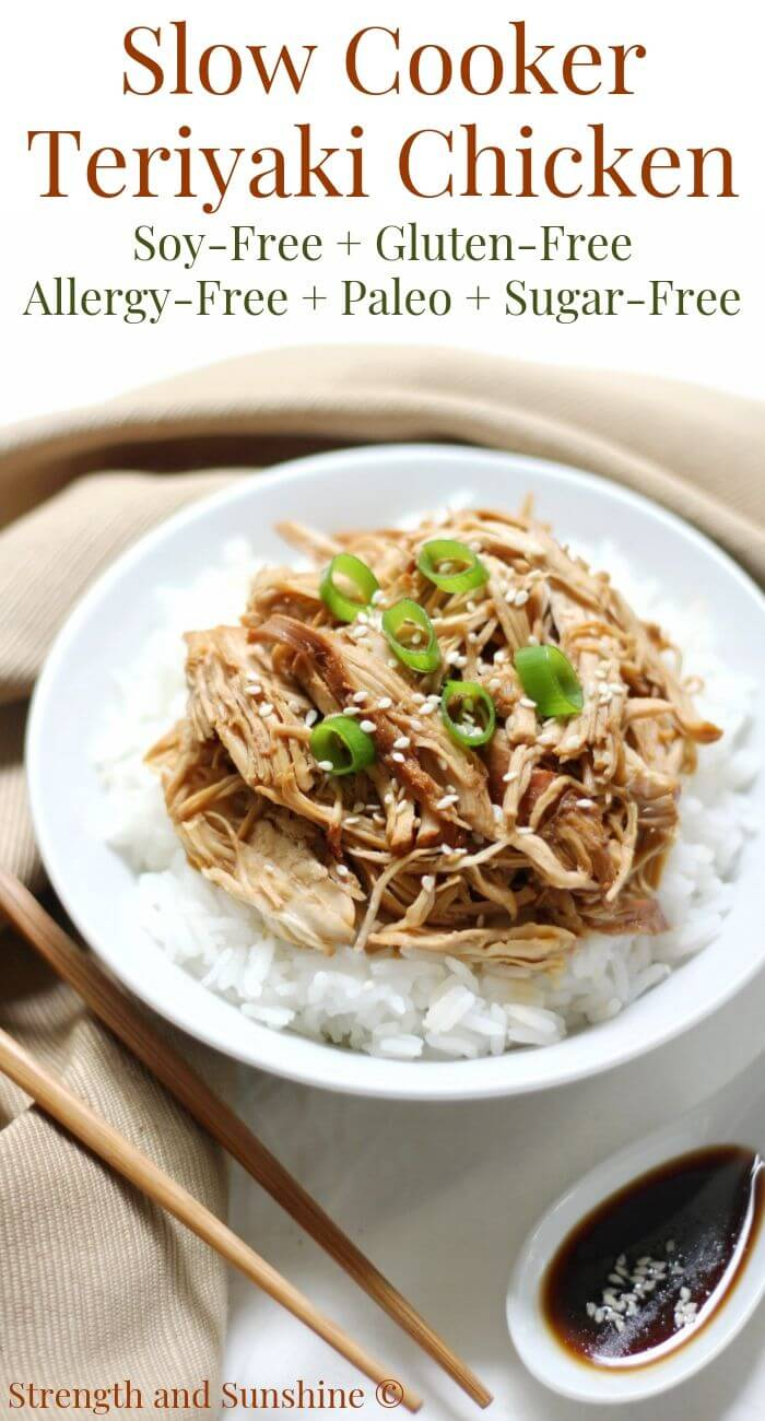 white bowl of slow cooker teriyaki chicken with chopsticks and image text