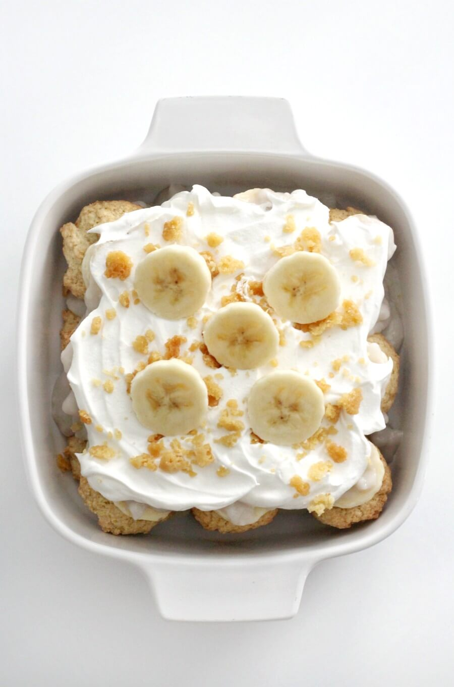 overhead view of vegan banana pudding in casserole dish