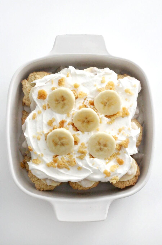 overhead view of vegan banana pudding in casserole dish