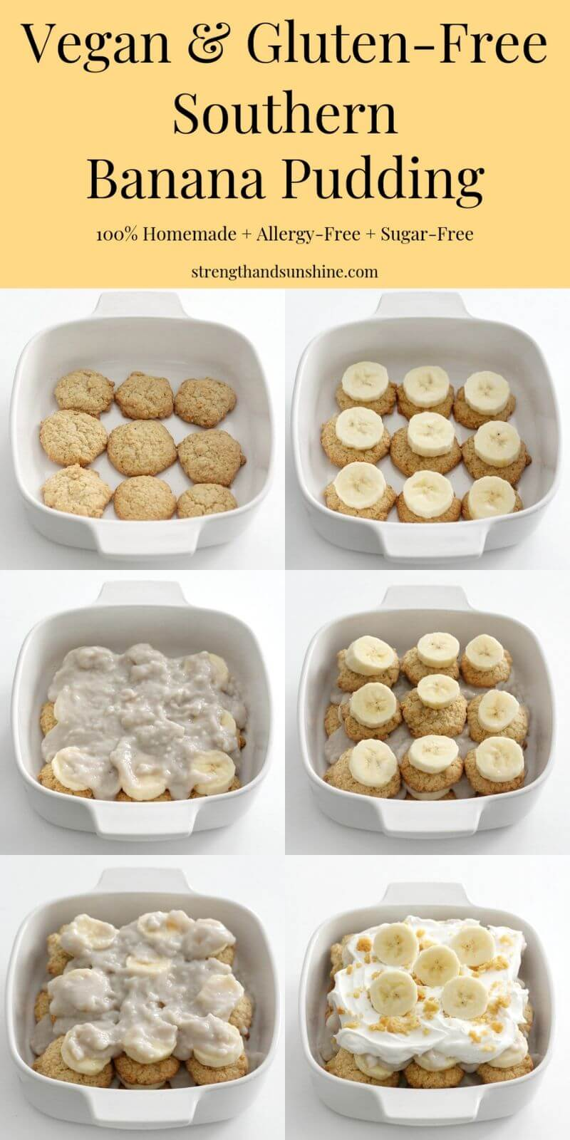 step-by-step banana pudding layering